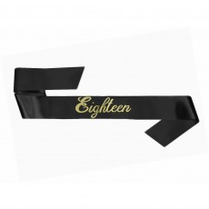 18th Birthday Black Sash Costume Accessorie