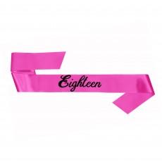 18th Birthday Party Supplies - Sash Pink Eighteen