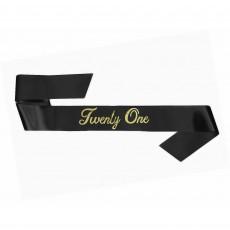 21st Birthday Party Supplies - Sash Black Twenty One