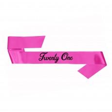 21st Birthday Party Supplies - Sash Pink Twenty One