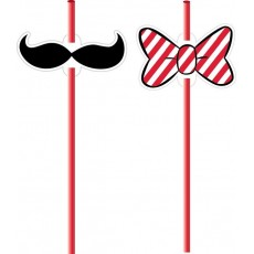 Disney Mickey Carnival Moustache & Bow Straws