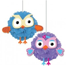 Giggle & Hoot Fluffy Hanging Decorations Pack of 2