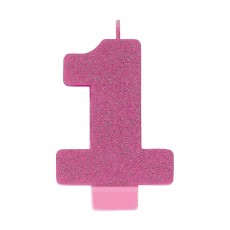 Number 1 Pink Glitter  Candle