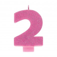 Number 2 Party Supplies - Candle Pink Glitter 8cm