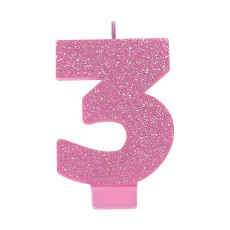 Number 3 Party Supplies - Candle Pink Glitter 8cm