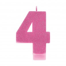Number 4 Party Supplies - Candle Pink Glitter 8cm