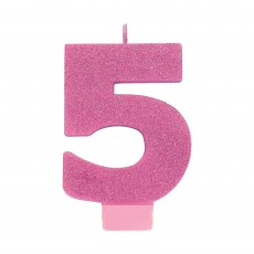 Number 5 Party Supplies - Candle Pink Glitter 8cm