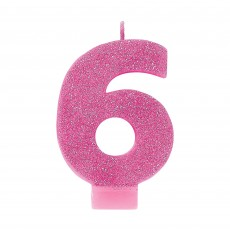 Number 6 Party Supplies - Candle Pink Glitter 8cm