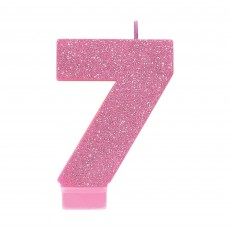 Number 7 Party Supplies - Candle Pink Glitter 8cm
