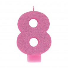 Number 8 Party Supplies - Candle Pink Glitter 8cm