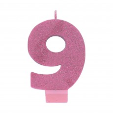 Number 9 Pink Glitter  Candle