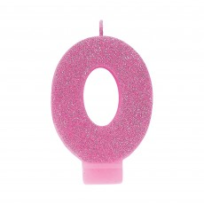 Number 0 Pink Glitter  Candle