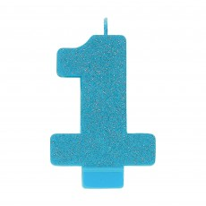 Number 1 Party Supplies - Candle Blue Glitter 8cm