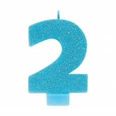 Number 2 Party Supplies - Candle Blue Glitter 8cm
