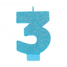 Number 3 Blue Glitter  Candle