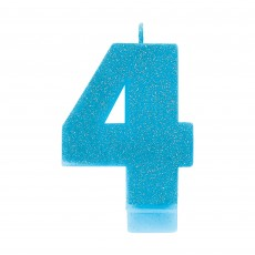 Number 4 Party Supplies - Candle Blue Glitter 8cm
