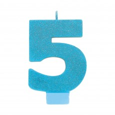 Number 5 Party Supplies - Candle Blue Glitter 8cm