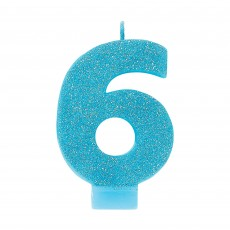 Number 6 Party Supplies - Candle Blue Glitter 8cm