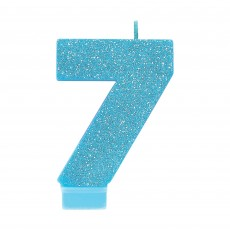 Number 7 Party Supplies - Candle Blue Glitter 8cm