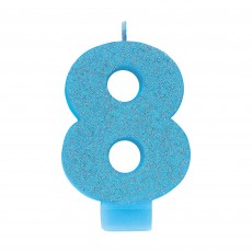 Number 8 Blue Glitter  Candle