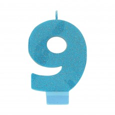 Number 9 Party Supplies - Candle Blue Glitter 8cm