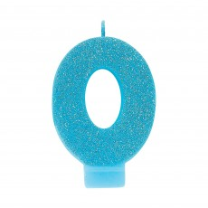 Number 0 Blue Glitter  Candle