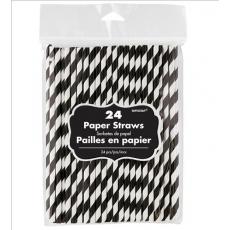 Jet Black & White Stripes Paper Straws 19cm Pack of 24