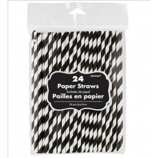 Stripes Jet Black & White Paper Straws