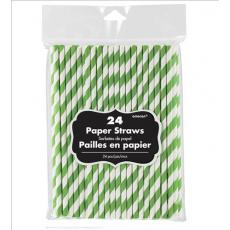 Kiwi Green & White Stripes Paper Straws 19cm Pack of 24