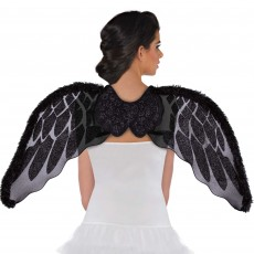 Fairytale Black Marabou Faux Fur Angel Wings Costume Accessorie