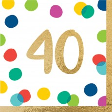 40th Birthday Party Supplies - Lunch Napkins Happy Dots