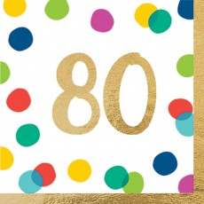 80th Birthday Party Supplies - Lunch Napkins Happy Dots