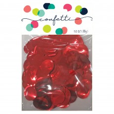 Red Party Decorations - Confetti Metallic Foil Circles Red
