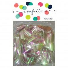 Iridescent White Metallic Circles Confetti