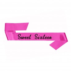 16th Birthday Party Supplies - Pink Fabric Sash Sweet Sixteen