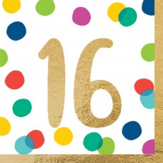 16th Birthday Party Supplies - Lunch Napkins Happy Dots