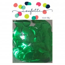 Green Party Decorations - Confetti Metallic Foil Circles Dark Green