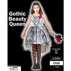 Halloween Party Supplies - Child Costume Gothic Beauty Queen 8-10 Yrs