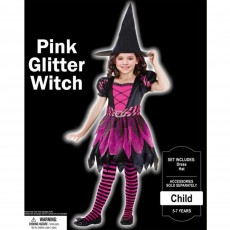 Halloween Pink Glitter Witch Child Costume