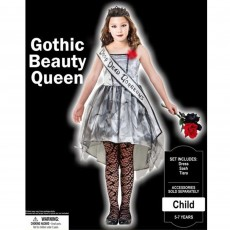 Halloween Party Supplies - Child Costume Gothic Beauty Queen 5-7 Yrs