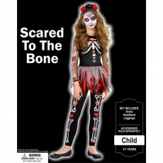 Halloween Party Supplies - Child Costume - Scared To The Bone 5-7 Yrs