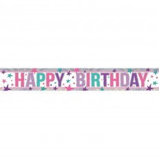 Happy Birthday Pink Holographic Banner