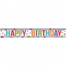 Happy Birthday Multi Stars Holographic Banner