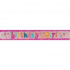 Happy Birthday Holographic Birthday Girl Banner 2.7m