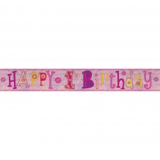 Girl's 1st Birthday Girl Design Banner