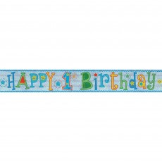 Boy's 1st Birthday Boy Design Foil Banner