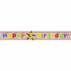 Happy Birthday Multi Holographic Happy 3rd Birthday Banner 2.7m