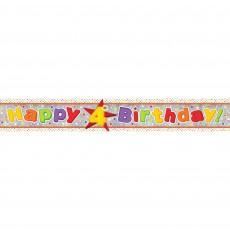 Happy Birthday Multi Holographic Happy 4th Birthday Banner 2.7m