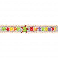 Happy Birthday Multi Holographic Happy 5th Birthday Banner 2.7m