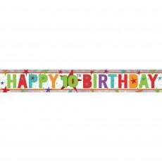 Happy Birthday Multi Holographic Happy 10th Birthday Banner 2.7m